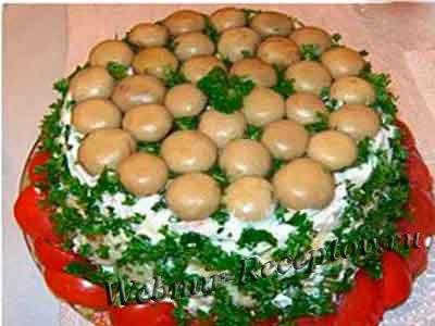 Салат грибной с шампиньонами