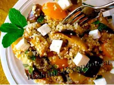 Салат из баклажанов, кус-куса и мяты