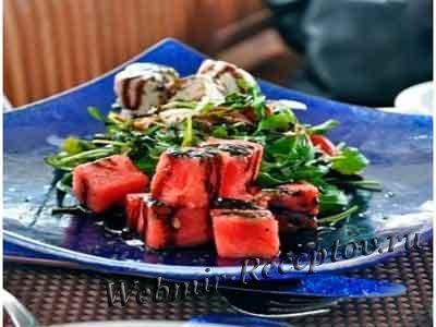 Салат из арбуза с фетой и коньяком