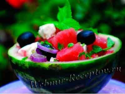 Салат арбузный с брынзой и луком