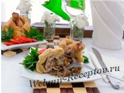 Куриные ножки, фаршированные грибами и овощами
