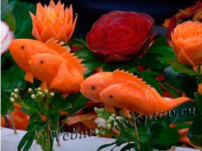 Как сделать рыбку из моркови поделка
