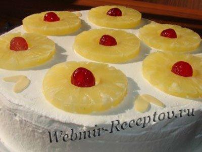 """Вафельный торт с ананасами """"Быстрый"""""""