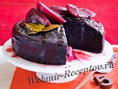 Творожный торт с грушами и красным вином