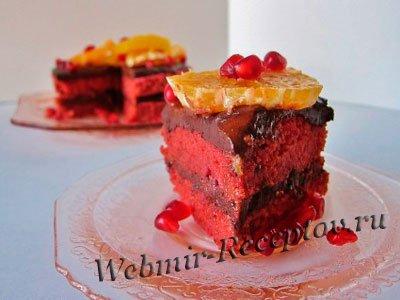 Красный пирог с гранатом