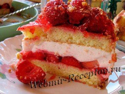 Торт с конфитюром из красных персиков