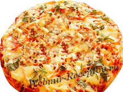 Пицца с луком и ветчиной