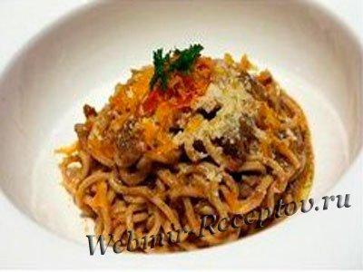 Спагетти с печенкой