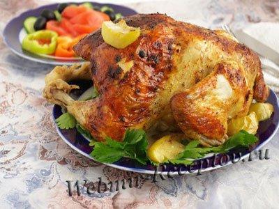 Цыпленок с черносливом и яблоками