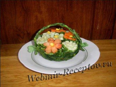 """Салат из кукурузы """"Корзинка с цветами"""""""