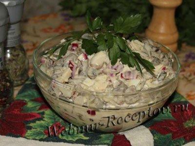 Печеночный салат с грибами