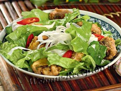 Салат из лапши с грибами