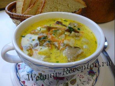 Суп грибной со сметанной заправкой