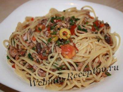 Спагетти с грибами и тунцом