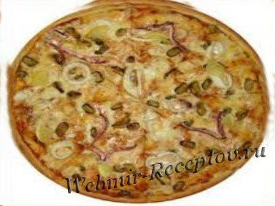 Пицца с макрелью и грибами