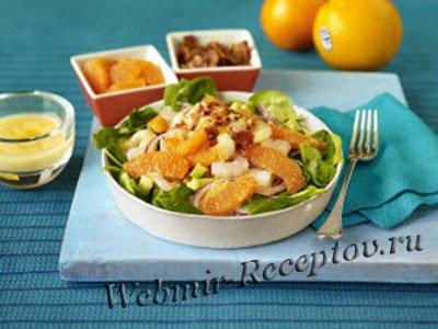 Салат с цитрусами и креветками