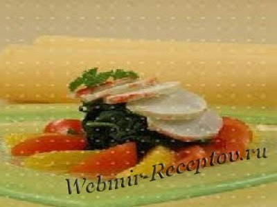 Салат из налима со шпинатом