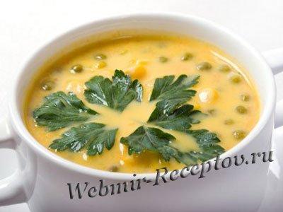 Молочный суп с зеленым горошком