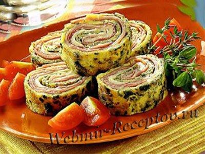 Вареный окорок с овощами